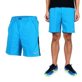 【MIZUNO】男平織短褲- 路跑 慢跑 休閒短褲 美津濃 藍黑  吸濕透氣
