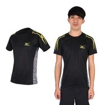 【MIZUNO】男短袖T恤-短T 休閒 抗紫外線 美津濃 黑黃