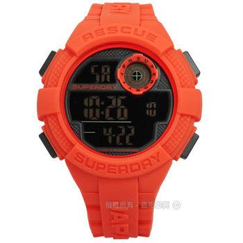Superdry 極度乾燥 / SYG193O / 推翻復古潮流電子矽膠腕錶 橘色 51mm