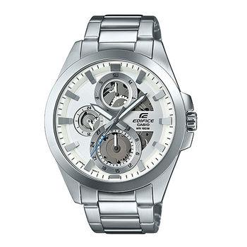 CASIO EDIFICE 機械狂人三眼造型運動腕錶-銀-ESK-300D-7A