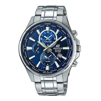 CASIO EDIFICE 世界派對饗宴三眼造型運動腕錶-藍-EFR-304D-2A