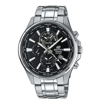 CASIO EDIFICE 世界派對饗宴三眼造型運動腕錶-黑-EFR-304D-1A