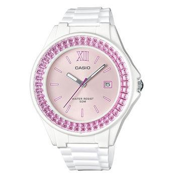 CASIO 珠光寶氣的炫爛休閒運動時尚腕錶-白+粉紅-LX-500H-4