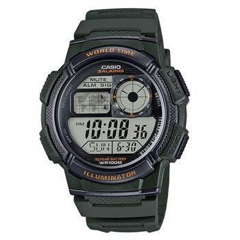 CASIO 世界景觀色彩再進化電子數位運動腕錶-綠-AE-1000W-3A