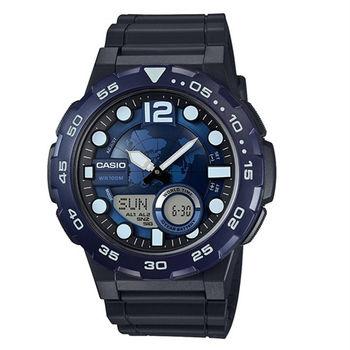 CASIO 宏觀世界10年電力雙顯運動腕錶-藍-AEQ-100W-2A