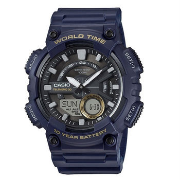 CASIO 耐力競賽10年電力雙顯運動腕錶-藍-AEQ-110W-2A