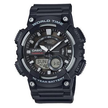 CASIO 耐力競賽10年電力雙顯運動腕錶-黑-AEQ-110W-1A