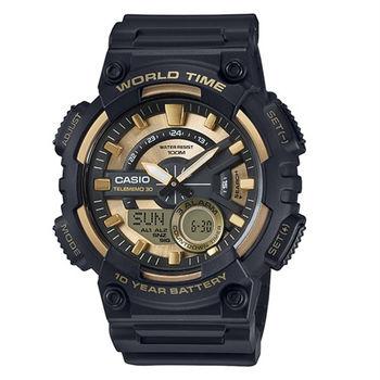 CASIO 耐力競賽10年電力雙顯運動腕錶-黑金-AEQ-110BW-9A