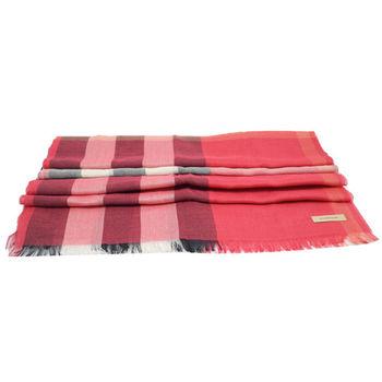 BURBERRY 英系經典格紋羊毛絲質披肩圍巾/絲巾.紅/黑白