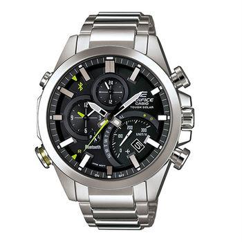 CASIO EDIFICE 全新藍牙爭霸戰智慧運動雙顯錶款-銀-EQB-500D-1A