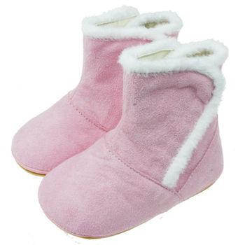 布布童鞋 天鵝牌手工透氣毛毛粉色寶寶靴 [ JL2145G] 粉紅款