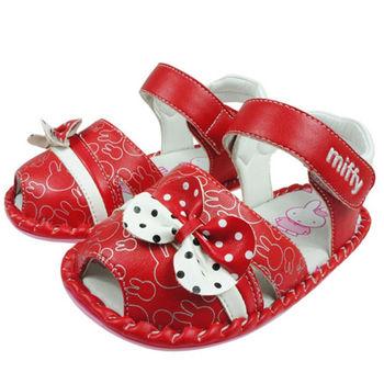 布布童鞋 Miffy米飛兔紅色蝴蝶結造型學步鞋 [ LA2713A] 紅色款