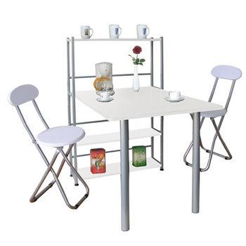 【Dr. DIY】80x120/公分-4層置物架型(1桌2椅)餐桌椅組(三色可選)