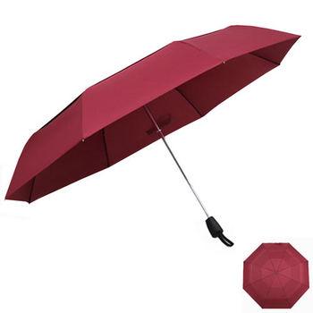 PUSH! 好聚好傘, 雙層加固傘布防風自動傘雨傘遮陽傘三摺傘I29-2酒紅
