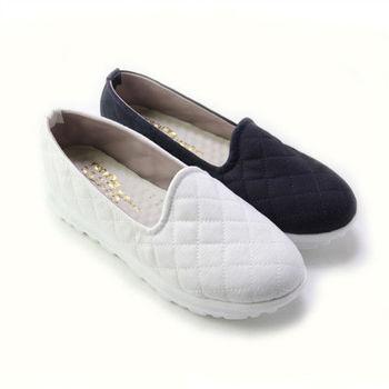 【Pretty】簡約菱格紋懶人厚底休閒鞋-白色、藍色