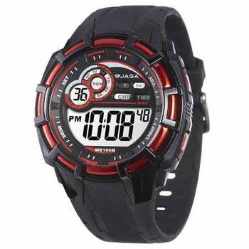 JAGA 捷卡  M997-AG 帥氣有勁多功能運動電子錶-黑紅