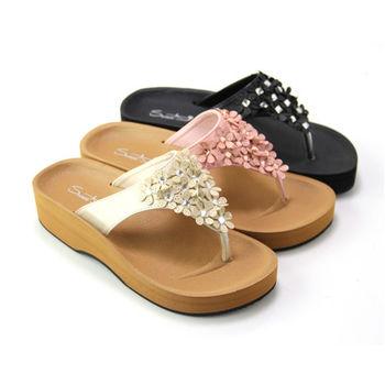 【Pretty】春紛晶鑽花朵厚底夾腳拖鞋-粉紅、米色、黑色