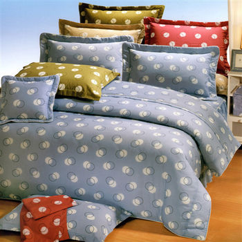 艾莉絲-貝倫 圓素心靈(5.0x6.2呎)六件式雙人(高級混紡棉)鋪棉床罩組(藍色)