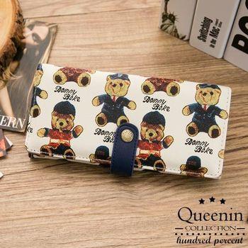 DF Queenin皮夾 - 泰迪熊英倫風格扣式長夾