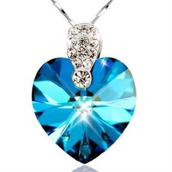 【米蘭精品】925純銀項鍊藍水晶吊墜海洋寶石華麗百搭銀飾