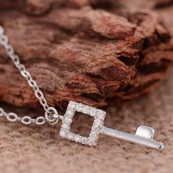 【米蘭精品】925純銀項鍊鑰匙吊墜約會韓風百搭玫瑰金銀飾