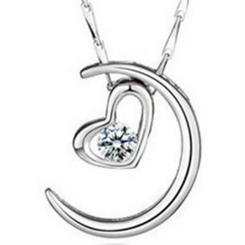 【米蘭精品】925純銀項鍊吊墜質感精緻約會百搭月亮銀飾