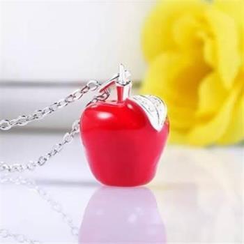 【米蘭精品】925純銀項鍊吊墜紅蘋果聖誕平安夜小銀飾