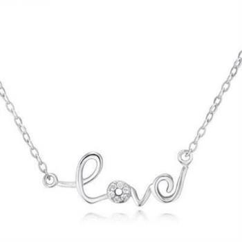 【米蘭精品】925純銀項鍊吊墜情人節必備精緻英文字母銀飾