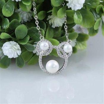 【米蘭精品】925純銀珍珠項鍊可愛鑲鑽米老鼠時尚銀飾
