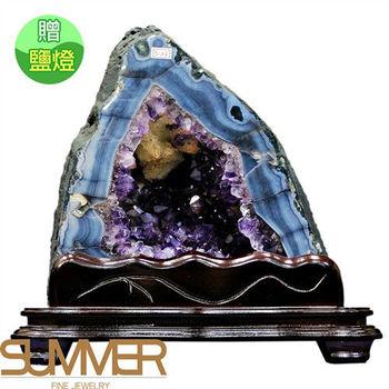 【SUMMER寶石】《10.8kg》巴西3A天然紫晶洞《加贈鹽燈》(1117-14)