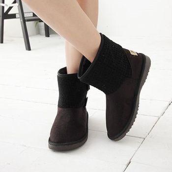 《DOOK》反摺兩穿針織拼接雪靴-黑色
