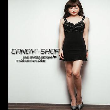 Candy小舖 性感胸前荷葉邊細肩帶後簍空短洋裝-黑♥ 現貨+預購