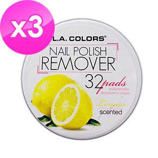 【美國 L.A. COLORS 卡洛絲】指甲去光棉片-檸檬香味(32片/盒/三盒入)