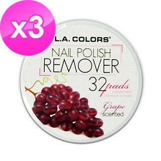 【美國 L.A. COLORS 卡洛絲】指甲去光棉片-葡萄香味(32片/盒/三盒入)
