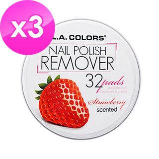 【美國 L.A. COLORS 卡洛絲】指甲去光棉片-草莓香味(32片/盒/三盒入)