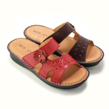 【GREEN PHOENIX】RED ANT_雕紋寬版對稱真皮拖鞋-紅色、咖啡色