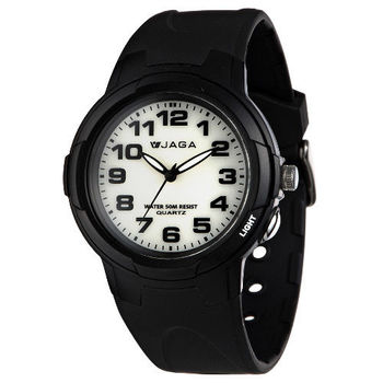 JAGA 捷卡 AQ71A-A 色彩繽紛夜光防水指針錶-黑