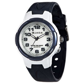 JAGA 捷卡 AQ71A-E 色彩繽紛夜光防水指針錶-藍