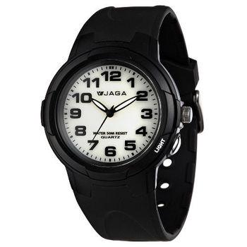JAGA 捷卡 AQ68A-A 色彩繽紛夜光防水指針錶-黑