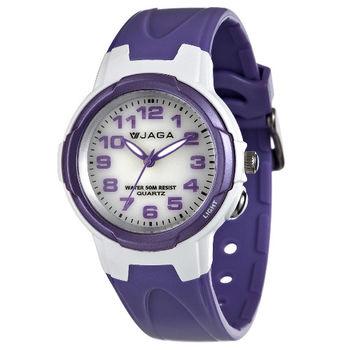 JAGA 捷卡 AQ68A-DJ 色彩繽紛夜光防水指針錶-白紫