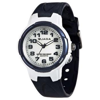 JAGA 捷卡 AQ68A-E 色彩繽紛夜光防水指針錶-藍