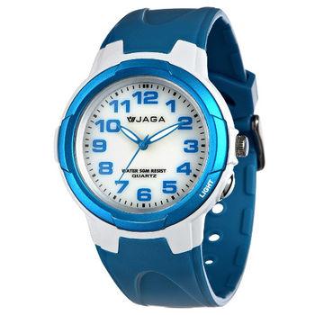 JAGA 捷卡 AQ68A-DE 色彩繽紛夜光防水指針錶-白藍