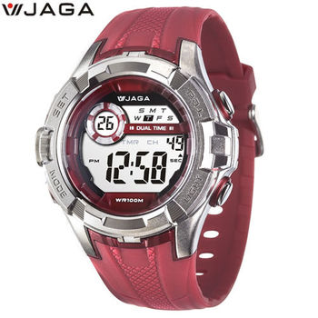 JAGA 捷卡 M1071-GG 抗震帥氣運動多功能電子錶-紅