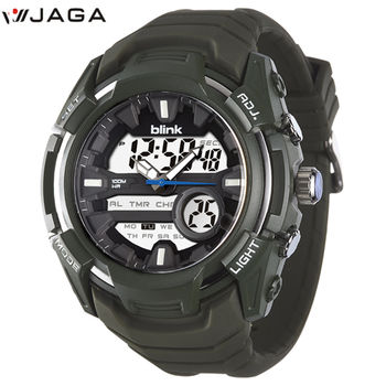 JAGA 捷卡 AD1014-F blink 捍衛雄風雙顯多功能電子錶-綠