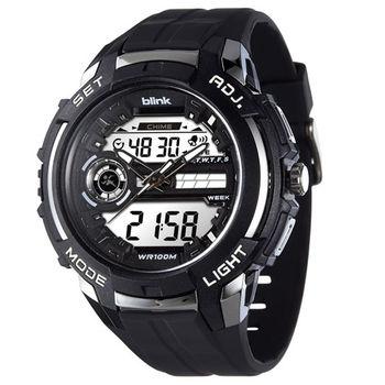 JAGA 捷卡 AD1030-A Blink 捍衛戰士雙顯多功能電子錶-黑