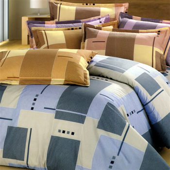 艾莉絲-貝倫 藍色情調(5.0x6.2呎)六件式雙人(高級混紡棉)鋪棉床罩組(藍色)