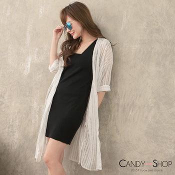 Candy小舖 七分袖長版透膚針織外套-♥ 現貨+預購