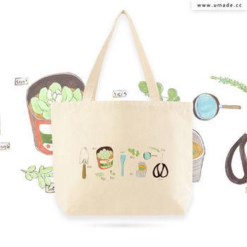 台灣插畫家獨家創作手工厚帆布包, 托特包, 肩背包, 購物包, 環保耐用-用多肉植物造一個自己的陽臺-裴小馬Pony Pei