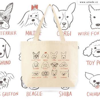 日本插畫家創作手工厚帆布包, 托特包, 肩背包, 購物包, 環保耐用-Naho-和狗狗的甜蜜生活