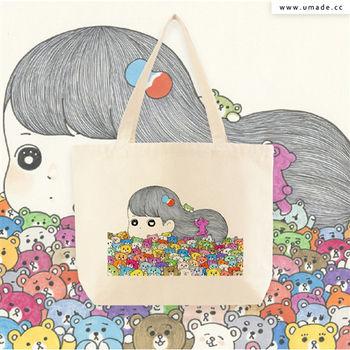 日本插畫家創作手工厚帆布包, 托特包, 肩背包, 購物包, 環保耐用-Awi被小熊覆蓋